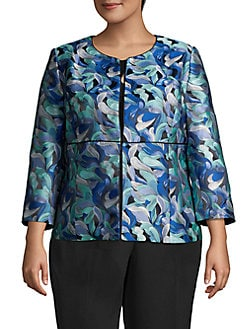 b1746c5a789 QUICK VIEW. Kasper. Plus Jewel Neck Floral Flyaway Jacket