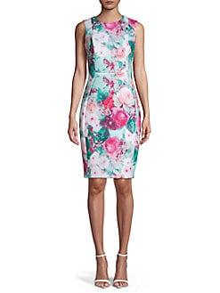 23894dbbfd5 QUICK VIEW. Calvin Klein. Floral-Print Sheath Dress