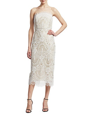 Badgley Mischka Platinum Strapless Lace Cocktail Dress