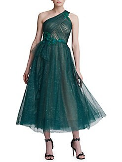 4fe7a281c7d QUICK VIEW. Marchesa Notte. One-Shouldered Lurex Tulle Cocktail Dress