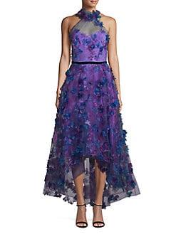 61eb5976 QUICK VIEW. Marchesa Notte. 3D Floral Halter Evening Gown