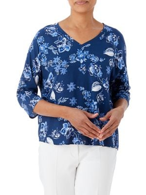 Image of Santorini Floral Popover Blouse