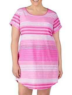daea7c63d Product image. QUICK VIEW. Lauren Ralph Lauren. Plus Striped Cotton  Sleepshirt