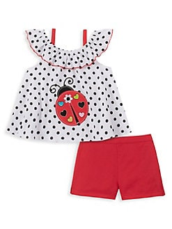 36aa2428500 Product image. QUICK VIEW. Kids Headquarters. Little Girl's 2-Piece Cotton  ...