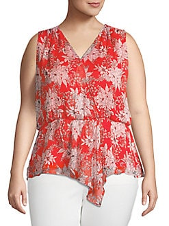 fe28fade245882 QUICK VIEW. Vince Camuto. Plus Cinched Floral Surplice Top