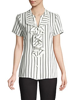 12022fc9c20dfd QUICK VIEW. Karl Lagerfeld Paris. Striped Ruffle Button Blouse