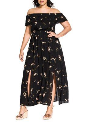 Image of Plus Aerial Floral Maxi Dress