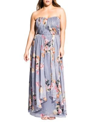 Image of Plus Whimsy Floral Strapless Maxi Dress
