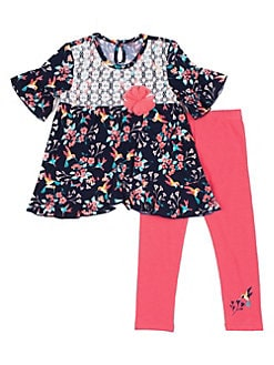 f05a53d49 Little Girl's Floral Ruffle 2-Piece Legging Set NAVY. QUICK VIEW. Product  image