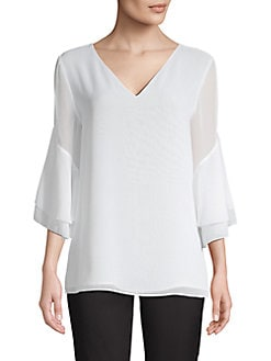 a7eef6e9e QUICK VIEW. Calvin Klein. Chiffon Tiered Sleeve Blouse