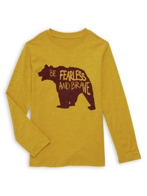 Image of Boy's Bear Graphic Long Sleeve Tee