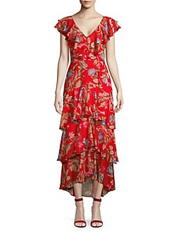 2e9e0dc39319 Chelsea Tiered Floral Maxi Dress RED TROPIC. QUICK VIEW. Product image
