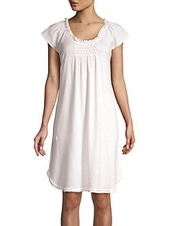 e5890a9e8947 QUICK VIEW. Miss Elaine. Smocked Cotton Blend Nightgown
