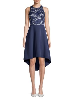 Image of Embroidered Floral Crepe Dress