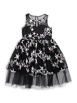 ab895a48012bb Girl's Star Embroidered Illusion Dress BLACK. QUICK VIEW. Product image