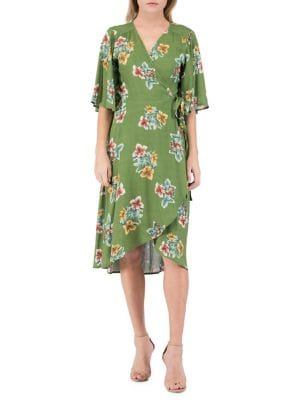 Image of Orna Floral Wrap A-Line Dress