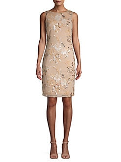 107dd78bd3073 QUICK VIEW. Calvin Klein. Floral Embroidered Sheath Dress