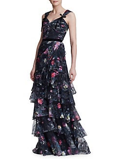 1332e113 QUICK VIEW. Marchesa Notte. Embroidered Floral Tiered Gown