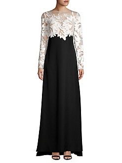 b2a160c9290b Long Sleeve Lace Gown IVORY BLACK. QUICK VIEW. Product image. QUICK VIEW. Tadashi  Shoji
