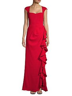 2f65df11d823 QUICK VIEW. Badgley Mischka Platinum. Ruffle Drape Evening Gown