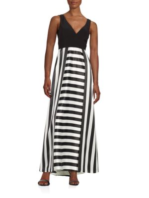 Striped V-Neck Gown by Betsy & Adam