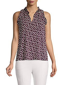 f4ab3d193d3 QUICK VIEW. MICHAEL Michael Kors. Petite Ruffled Sleeveless Printed Top