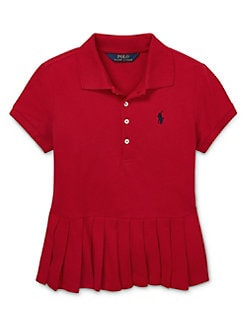 3f6a9984 QUICK VIEW. Ralph Lauren Childrenswear. Girl's Pleated-Hem Mesh Polo