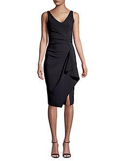 b3b2bfc0 Drape Front Sheath Dress BLACK. QUICK VIEW. Product image