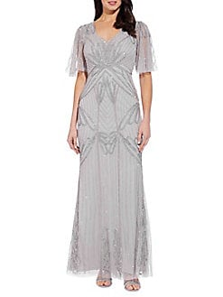 a43d86673 QUICK VIEW. Adrianna Papell. Beaded Mesh V-neck Gown
