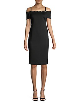 d3c4a37d QUICK VIEW. Calvin Klein. Cold-Shoulder Embellished Trim Sheath Dress
