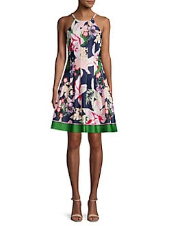 a26c9d7a QUICK VIEW. Vince Camuto. Pleated Floral Border Halter Dress