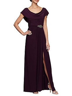 f5251855332a Embellished Cowl-Neck Gown EGGPLANT. QUICK VIEW. Product image