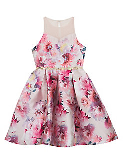 1ecbe74d2 QUICK VIEW. Rare Editions. Girl's Floral-Print Sleeveless Illusion Dress