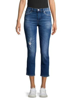 Image of Radio Silence Distressed Cropped Jeans