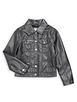 03be6645b3f Little Girl's Faux Leather Jacket GUNMETAL. QUICK VIEW. Product image