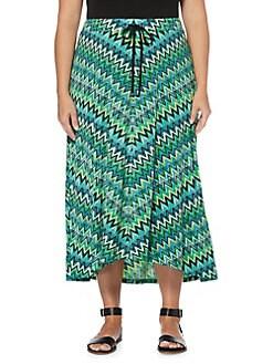 17a204c808 QUICK VIEW. Rafaella. Plus Drawstring Zigzag Print Maxi Skirt
