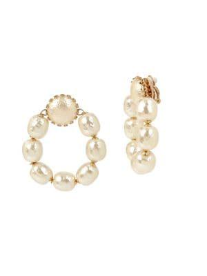 Image of Goldtone Beaded Hoop Clip-On Earrings