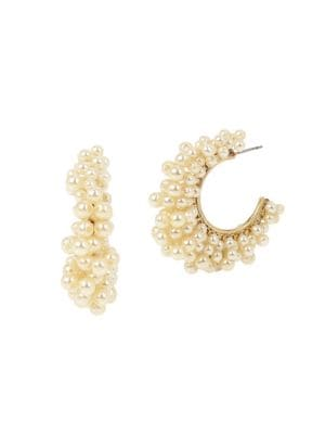 Image of Goldtone Woven Bead Hoop Earrings