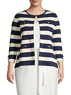2cc8396984 QUICK VIEW. Anne Klein. Plus Striped Flap-Pocket Cardigan