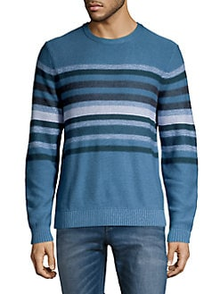 07eb90d6bcf563 QUICK VIEW. Black Brown 1826. Banded Stripe Cotton Sweater