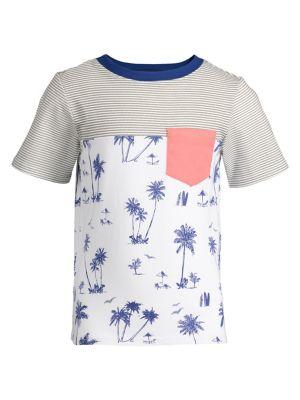 Image of Little Boy's Regular-Fit Stripe & Palms Colorblock Cotton Blend Tee