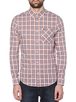 2acf786392f Slim-Fit Dobby Check Stretch Shirt
