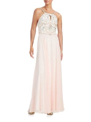 Embellished Keyhole Gown by Xscape