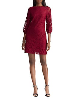 97552061a498 QUICK VIEW. Lauren Ralph Lauren. Lace Peasant-Sleeve Shift Dress