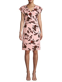 e23d7991208674 Product image. QUICK VIEW. Halston Heritage. Floral-Print Knee-Length Dress