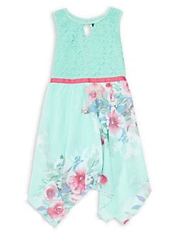 e19111ceccb6 Girl's Casual Lace To Printed Chiffon Dress MINT. QUICK VIEW. Product image