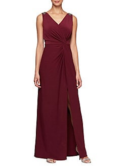 d713229e55ac0 QUICK VIEW. Alex Evenings. Embellished Knot-Front Slit Dress