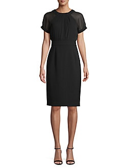 2176589c QUICK VIEW. Vince Camuto. Short Sleeve Illusion Sheath Dress