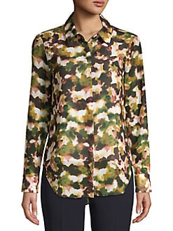 74d3386d8ca Product image. QUICK VIEW. T Tahari. Printed Chiffon Button Blouse