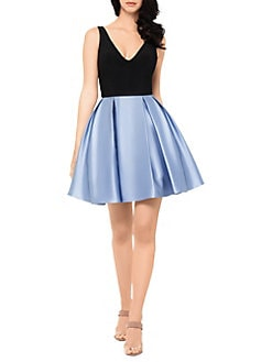 604b92c265f Product image. QUICK VIEW. Betsy   Adam. Pleated V-Neck Fit- -Flare Dress